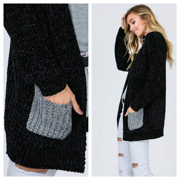 lo_dellboutique Sweaters - 1 DAY SALE💥Chenille Cardigan w/Color Block Pocket
